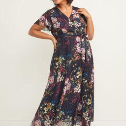 Lane Bryant Women's Floral Clip Dot Maxi Dress 12 Purple Floral   Lane Bryant (US)