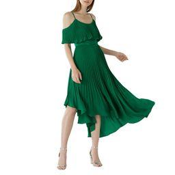 Coast - Green 'Darcy' Cold Shoulder Pleated Midi Dress   Debenhams UK