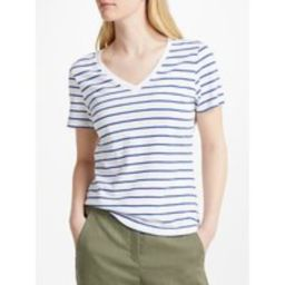 John Lewis V-Neck Short Sleeve Cotton Slub T-Shirt, White/Blue   John Lewis UK