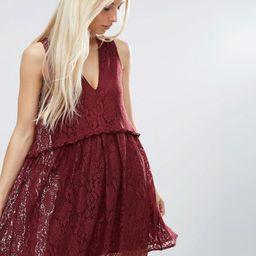 ASOS Lace Smock Dress - Red | ASOS US