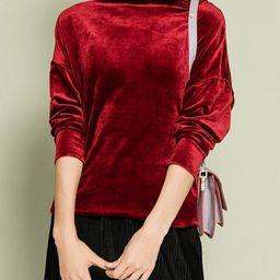 Burgundy Turtleneck H-line Plain Velvet Long Sleeved Top | StyleWe (US)