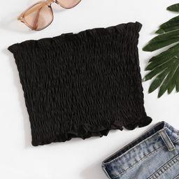 Shirring Bandeau Top | SHEIN