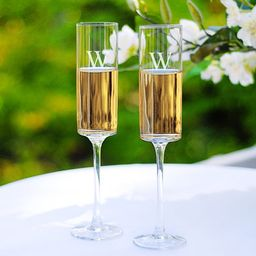 Personalized Contemporary Champagne Flutes   Overstock