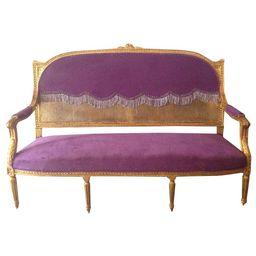 Louis XVI Purple Sofa | Chairish
