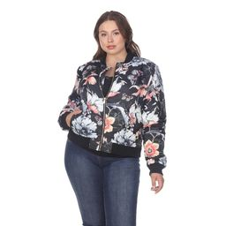 White Mark Women's Plus Size Floral Bomber Jacket | Overstock