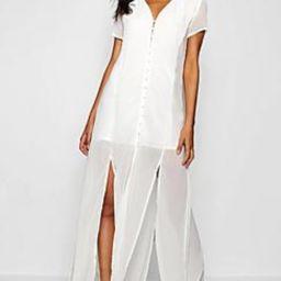 Chiffon Button Through Sliced Maxi Dress | Boohoo.com (US & CA)