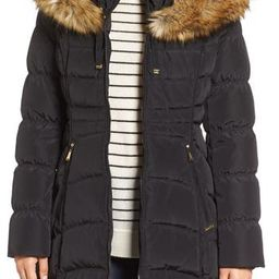 Women's Laundry By Shelli Segal Hooded Down & Feather Fill Coat With Detachable Faux Fur Trim, Size Small - Black   Nordstrom