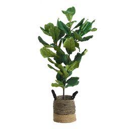 5 Ft Faux Fiddle Leaf Fig Plant: Green by World Market | World Market