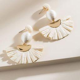 Joy Raffia Statement Earrings in Ivory - Ivory | Francesca's Collections