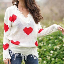 White & Red Heart Frayed-Hem Sweater - Women | Zulily