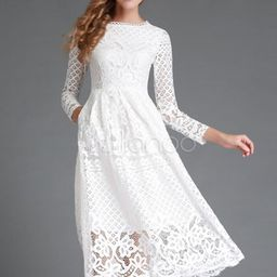 White Lace Dress Long Sleeve Flared Dress For Women   Milanoo