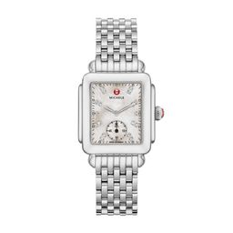Michele Deco Mid, Diamond Dial Watch Mww06v000002 Mother-Of-Pearl | Michele Watches