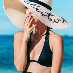 Women's Sun Hat Ecru White Letters Print Beach Hat | Milanoo