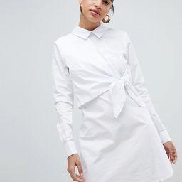 Fashion Union Shirt Dress With Tie Front Detail - White | ASOS US