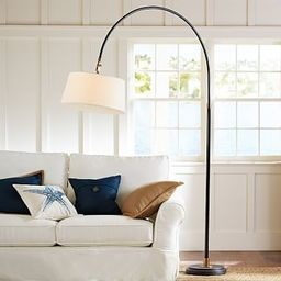 Winslow Arc Sectional Floor Lamp, White Linen Shade | Pottery Barn (US)