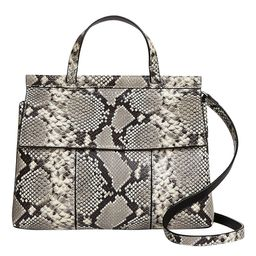 Snake Print Block-T Embossed Leather Satchel | zulily