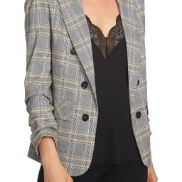 Women's 1.state Menswear Plaid Ruched Sleeve Blazer   Nordstrom