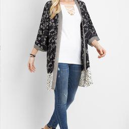 Black And White Mix Print Kimono   Maurices