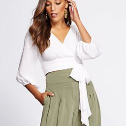 Gabrielle Union Collection - Crop Tie-Front Blouse   New York & Company