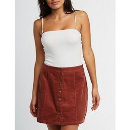 Button Up Corduroy Mini Skirt   Charlotte Russe