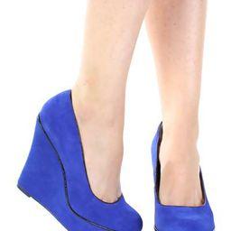Blue Suede Leather Upper Round Close Toe Pump Wedges Platform | Ami Club Wear