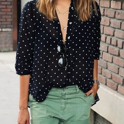 Black Polka Dot With Buttons Blouse | ROMWE