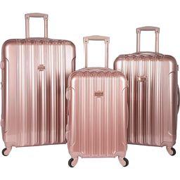Kensie Luggage Alma 3 Piece Metallic Expandable Hard Side Spinner Luggage Set Rose Gold - Kensie Luggage Luggage Sets | eBags