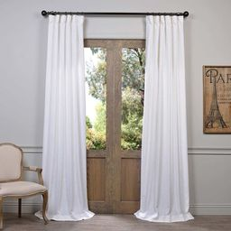 """Exclusive Fabrics Heavy Faux Linen Curtain Panel 120"""" in Barley (As Is Item)   Overstock"""