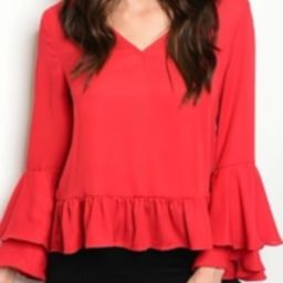 Red Ruffle Top | Shoptiques