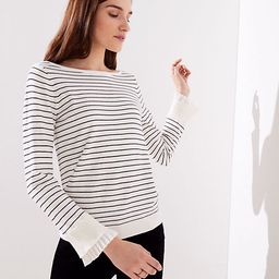 LOFT Striped Pleated Bell Cuff Sweater | LOFT