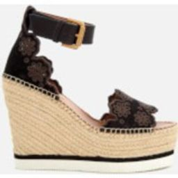 See By Chloé Women's Suede Wedged Sandals - Black | Allsole (Global)