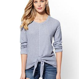 Tie-Front Ribbed-Knit Marled Sweater | New York & Company