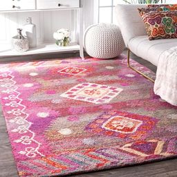 The Curated Nomad Noriega Tribal Handmade Pink Diamond Area Rug - 5' x 8' | Overstock
