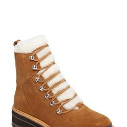 Women's Marc Fisher Ltd Izzie Genuine Shearling Lace-Up Boot, Size 5 M - Brown | Nordstrom