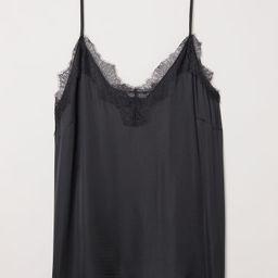 H & M - H & M+ Satin Camisole with Lace - Black | H&M (US)