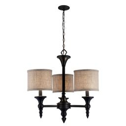 World Imports Jaxson Collection 3-Light Oil-Rubbed Bronze Chandelier with Burlap Fabric Shades   Home Depot