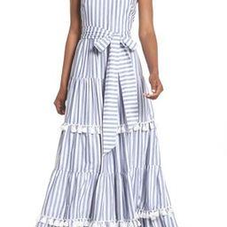 Women's Eliza J Tiered Tassel Fringe Cotton Maxi Dress   Nordstrom