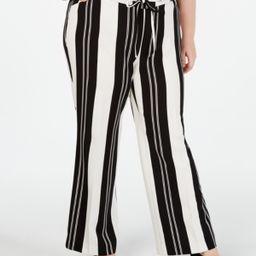 I.n.c. Plus Size Nolita-Stripe Wide-Leg Pants, Created for Macy's | Macys (US)