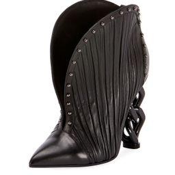 Ines Pleated Studded Chain-Heel Bootie | Neiman Marcus