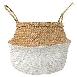 """Seagrass Basket With Handles (19"""""""") - Natural & White - 3R Studios 