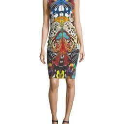 Sleeveless Butterfly-Print Fitted Cocktail Dress | Neiman Marcus