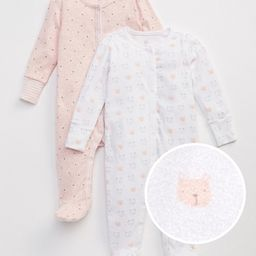 Gap Baby Favorite Bear Footed One-Piece (2-Pack) Pink Heather Size 0-3 M | Gap US