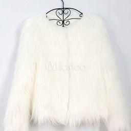 Faux Fur Coat Long Sleeve White Overcoat Women Faux Fur Jacket | Milanoo