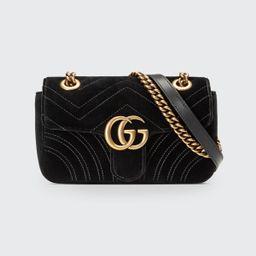 GG Marmont 2.0 Mini Quilted Velvet Crossbody Bag, Black | Bergdorf Goodman