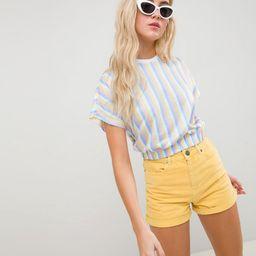 ASOS DESIGN t-shirt in bright stripe with elasticated hem - Multi   ASOS US