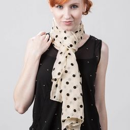 Velvet Polka Dots Scarf by Scarves.com -  Ivory Polyester   Ties