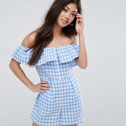 New Look Petite Gingham Double Layered Romper - Blue   ASOS US