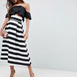 ASOS High Waisted Scuba Midi Prom Skirt in Stripe - Multi | ASOS US