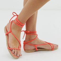 Simmi London Hira neon orange toe loop espadrille sandals - Orange   ASOS US