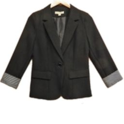Black Stripe-Cuff Jacket | Shoptiques